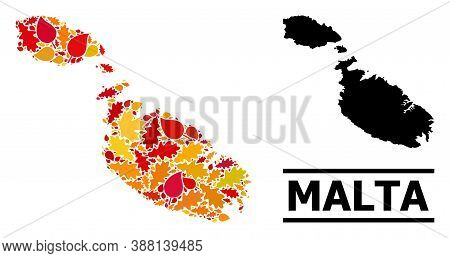Mosaic Autumn Leaves And Solid Map Of Malta. Vector Map Of Malta Is Done Of Randomized Autumn Maple