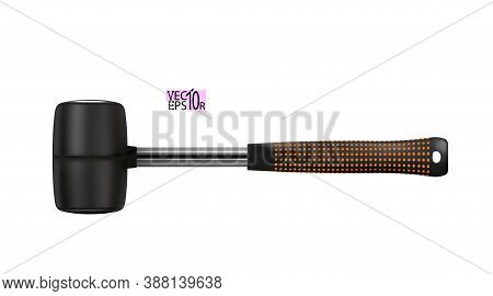 Rubber Mallet Black Modern Realistic With Handle Of Metal. Locksmith Work Tool Isolated On White Bac