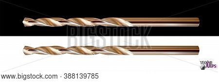 Modern Steel Realistic Gilded Drill Bit. Professional Working Tool Isolated On White Background. Vec