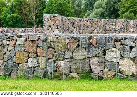 Environmental Object, Gabion Fence Wall From Steel Mesh With Stones