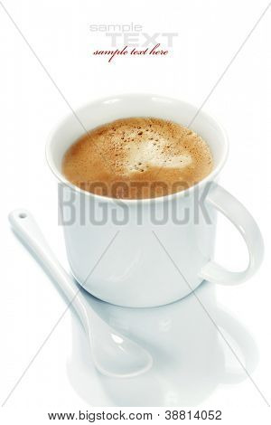 Coffee cup on white background (with sample text)