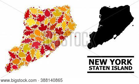 Mosaic Autumn Leaves And Usual Map Of Staten Island. Vector Map Of Staten Island Is Constructed With