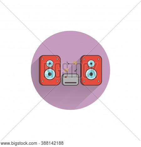 Speakers Colorful Flat Icon With Long Shadow. Stereo Speakers With Subwoofer Flat Icon