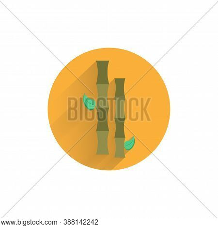 Bamboo Branch Colorful Flat Icon With Shadow. Bamboo Flat Icon