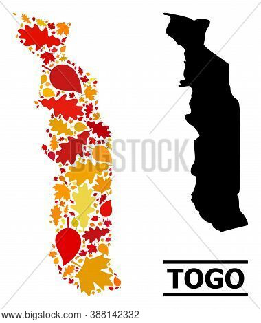Mosaic Autumn Leaves And Usual Map Of Togo. Vector Map Of Togo Is Constructed With Scattered Autumn
