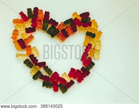 Heart Made Of Colored Marmalade. Love And Happiness. Marriage And Family. A Symbol Of Peace And Love