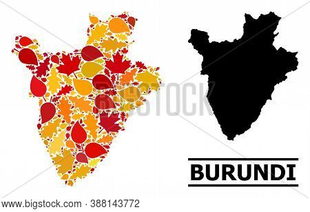 Mosaic Autumn Leaves And Solid Map Of Burundi. Vector Map Of Burundi Is Constructed With Random Autu