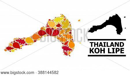 Mosaic Autumn Leaves And Usual Map Of Koh Lipe. Vector Map Of Koh Lipe Is Done Of Randomized Autumn
