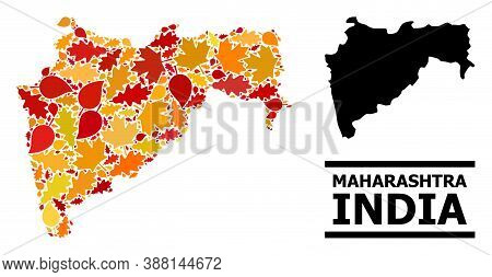 Mosaic Autumn Leaves And Usual Map Of Maharashtra State. Vector Map Of Maharashtra State Is Created