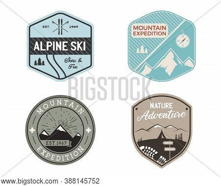 Vintage Mountain Ski Badges Logos Set, Mountain Adventure Stickers. Hand Drawn Emblems Bundle. Skiin
