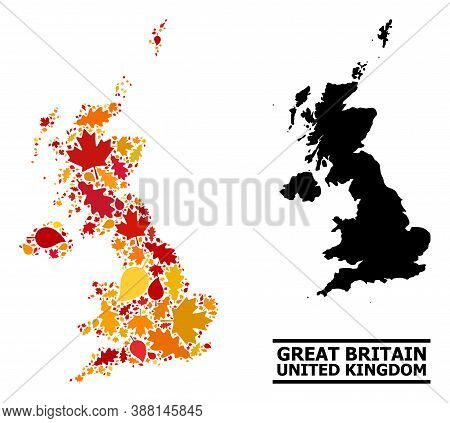 Mosaic Autumn Leaves And Usual Map Of United Kingdom. Vector Map Of United Kingdom Is Made Of Random
