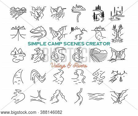 Simple Vector Mountains Valleys And Rivers Icons Shapes Set. Logo Creation Kit. Outdoor Adventure Li