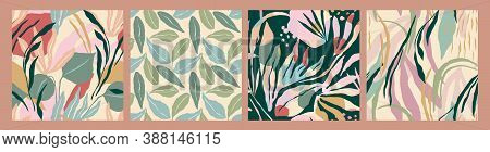 Abstract Collection Of Seamless Patterns With Leaves. Modern Design