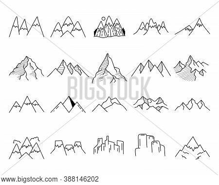 Simple Vector Mountains Icons Shapes Set. Logo Creation Kit. Outdoor Adventure Line Art Mountain Ele