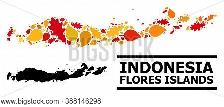 Mosaic Autumn Leaves And Solid Map Of Indonesia - Flores Islands. Vector Map Of Indonesia - Flores I