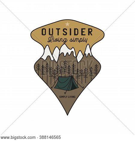 Vintage Mountain Camping Scene Logo, Adventure Emblem Illustration Design. Outdoor Label With Tent,