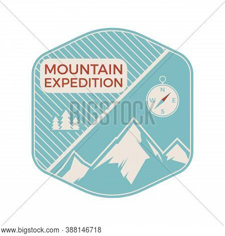 Camping Mountain Expedition Logo Emblem Illustration Design. Outdoor Adventure Label With Mountains,