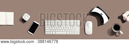 Computer Keyboard With Digital Devices - Flat Lay