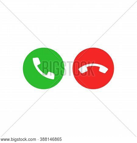 Accept And Decline Icon. Green Answer And Red Decline Button. Vector Eps 10. Isolated On White Backg