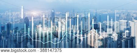 Financial Growth Chart Graph Diagram Analysis Big Data Trading Investment Concept. City View Skyline