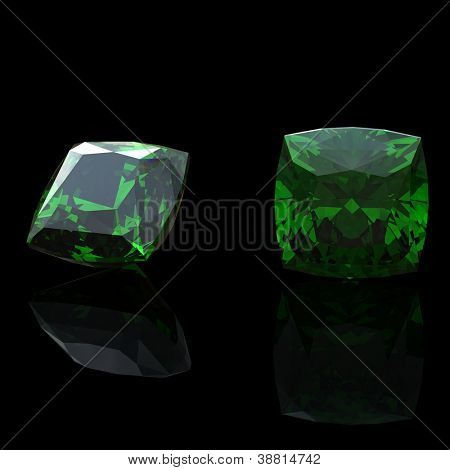 Square gemstone on black background. Emerald. Peridot
