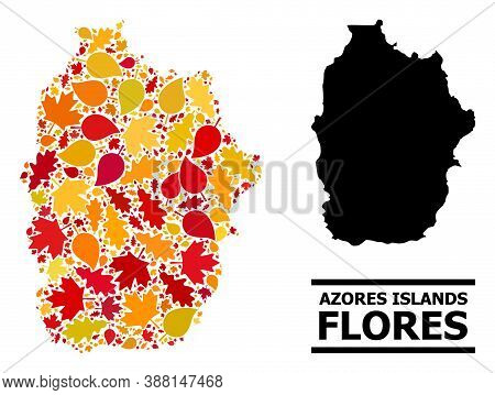 Mosaic Autumn Leaves And Usual Map Of Azores - Flores Island. Vector Map Of Azores - Flores Island I