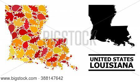 Mosaic Autumn Leaves And Usual Map Of Louisiana State. Vector Map Of Louisiana State Is Formed With