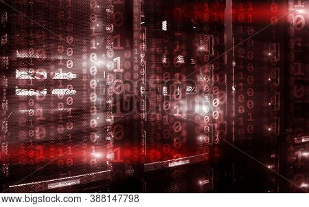 Binary Code Matrix Digital Internet Technology Concept On Server Room Background.