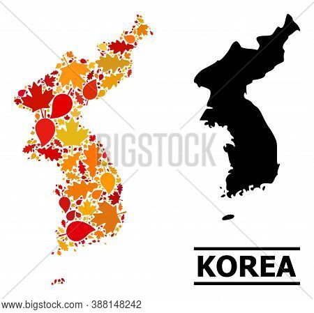 Mosaic Autumn Leaves And Solid Map Of Korea. Vector Map Of Korea Is Formed From Randomized Autumn Ma