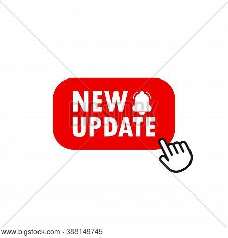 Red Banner New Update With Pointer. Update Button. Vector Eps 10. Isolated On White Background