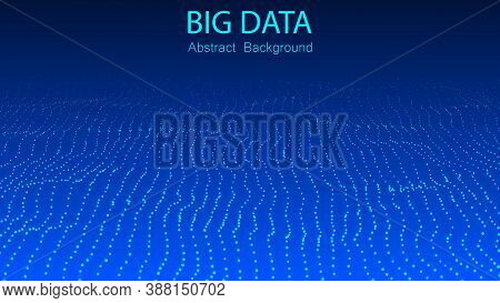 Big Data Stream. Abstract Gradient Dynamic Wave Of Particles. Network Of Bright Points Or Dots. Big