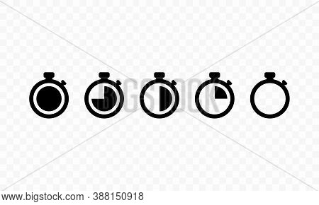 Timer. Countdown Timer Icon Set. Timers Symbol. Stopwatch Collection. Vector Eps 10. Isolated On Tra