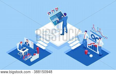 Isometric Concept Of Business Analysis, Analytics, Research, Strategy Statistic, Planning, Marketing