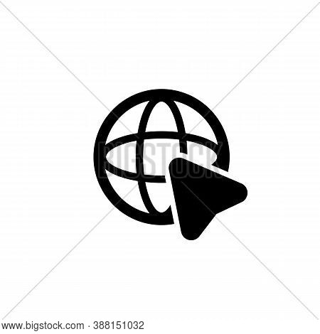 Go To Web With Cursor Icon. Website Pictogram. Internet Symbol. Web Site Sign. Vector Eps 10. Isolat