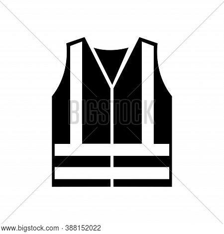 High Visibility Clothing Black Icon,vector Illustration, Isolated On White Background Label. Eps10