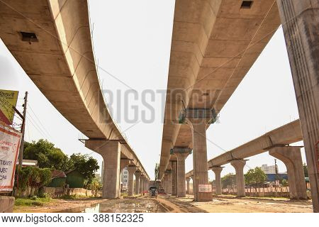 Dhaka, Bangladesh - August 19, 2020: Metro Rail Construction Site In Dhaka For Elevated Way And For