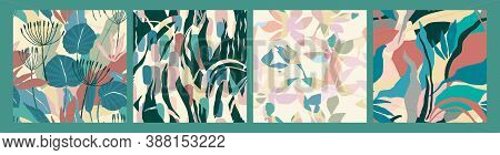 Abstract Collection Of Seamless Patterns With Leaves. Modern Design For Paper, Cover, Fabric, Interi