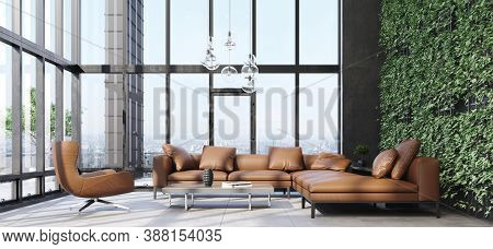 Luxury Modern Living Room Interior With Panoramic Windows, 3d Illustration