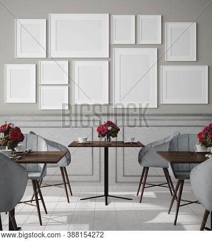 Poster Mock Up In Modern Cafe Interior Background, 3d Illustration