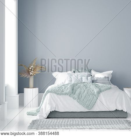 Home Interior Mock-up With Bed, Table And Bouquet In Bedroom, 3d Illustration
