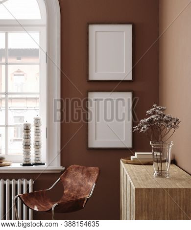 Home Interior With Ethnic Boho Decoration And Poster Mockup, 3d Illustration