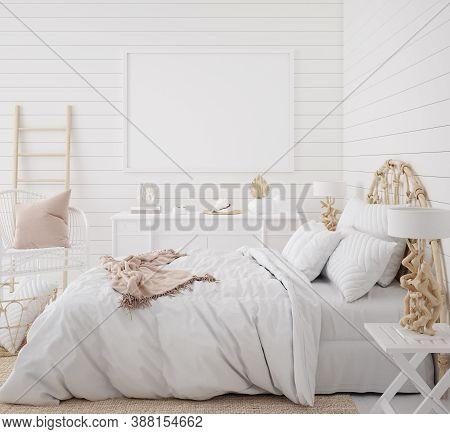 Mockup Frame In Bedroom Interior Background, Coastal Boho Style, 3d Illustration