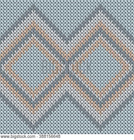 Fairisle Rhombus Argyle Knitted Texture Geometric Seamless Pattern. Plaid Knitwear Fabric Print. Win