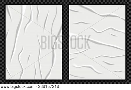 Realistic Badly Glued Paper Vector Illustration. Wet Crumpled Poster Mockup, Wrinkled Sheet Texture,