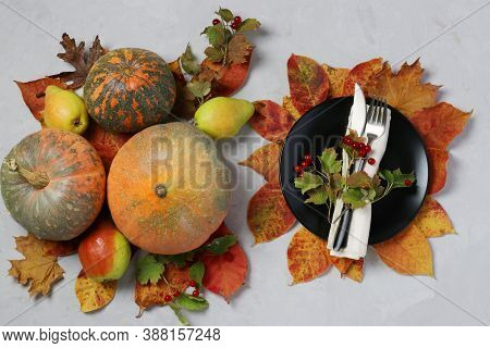 Table Setting On Thanksgiving Day Decorated Pumpkin, Viburnum, Pears And Colorful Leaves On Grey. To