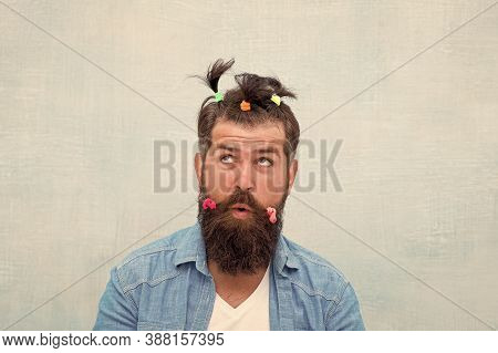 Masculine Enough. Having Fun Party. Man Adult Bearded Handsome Hipster Childish Hairstyle Colorful P