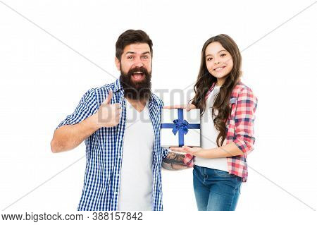Find Perfect Gift In Our Shop. Bearded Man Give Thumbs Up. Little Child Hold Present Box. Gift Shop.
