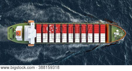Freighter Ship With Singaporean Cargo Containers Sailing In Ocean, 3d Rendering