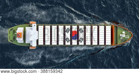 Freighter Ship With South Korean Cargo Containers Sailing In Ocean, 3d Rendering