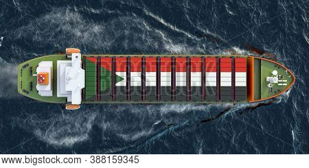 Freighter Ship With Sudanese Cargo Containers Sailing In Ocean, 3d Rendering